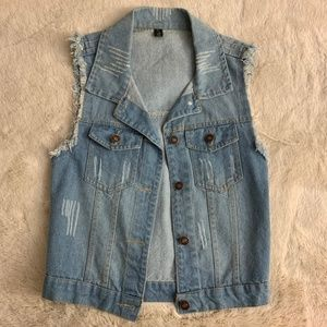 Forever 21 Blue Denim Jean Vest